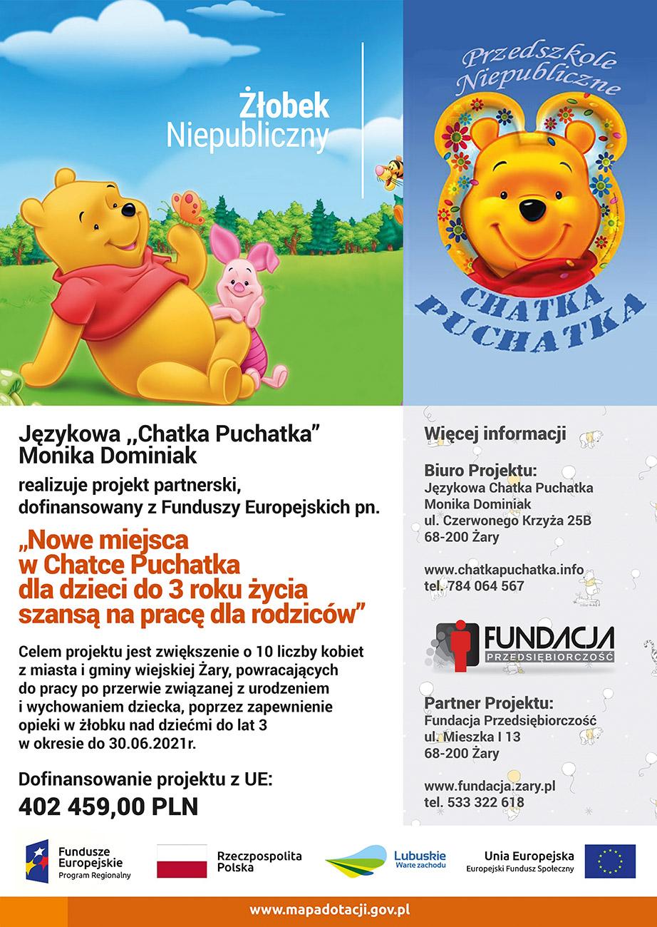 """Ilustracja do informacji: """"Nowe miejsca w Chatce Puchatka dla dzieci do 3 roku życia szansą na pracę dla rodziców"""" - rekrutacja uzupełniając"""